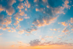 Yellow Blue Sunrise Sky With Sunlight Royalty Free Stock Image