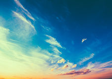 Yellow Blue Sunrise Sky With Sunlight Stock Photos