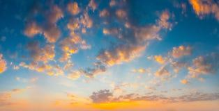 Yellow Blue Sunrise Sky With Sunlight Stock Photo