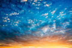 Yellow Blue Sunrise Sky With Sunlight Royalty Free Stock Photo