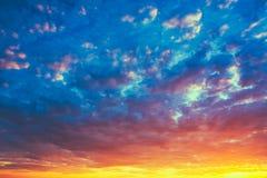Yellow Blue Sunrise Sky With Sunlight Royalty Free Stock Photo