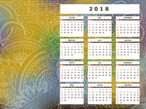 Yellow-blue tangle zen pattern calendar year 2018. Business english calendar for wall on year 2018 on the gradient background with hand drawn tangle zen pattern Royalty Free Stock Images