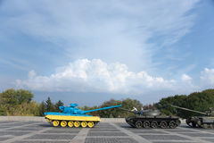 Yellow-blue tank on the territory of the War Museum Stock Photo