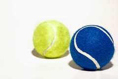 Yellow and Blue Tennis Balls Stock Photos