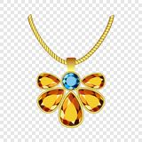 Yellow and blue topaz jewelry icon, realistic style stock illustration