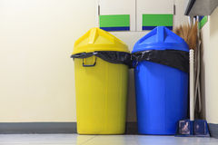 Yellow and blue trash Stock Photo