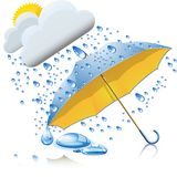 Yellow-blue umbrella with rain Stock Images