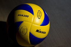 Yellow and blue volleyball Stock Image