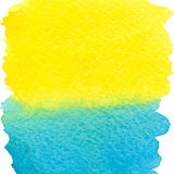 Yellow and blue watercolor squarer background Stock Photography