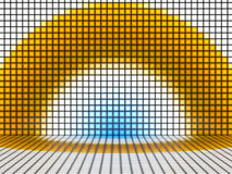 Yellow blue and white Background with illuminated Squares Stock Image