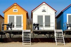 Yellow blue and white beach houses Royalty Free Stock Photos