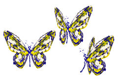 Yellow blue white paint made butterfly set Royalty Free Stock Image