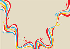 Yellow, blue, white, red curvy lines with drops Royalty Free Stock Photos