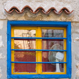 Yellow and blue window, Croatia Royalty Free Stock Photo