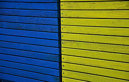 Yellow and blue wooden planks Stock Photography