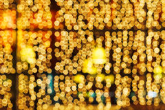Yellow blurred lights of christmas decoration Stock Image