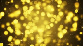Yellow blurred lights and sparkling particles. Computer generated holiday background royalty free illustration