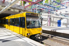 Yellow Blurred Motion Subway Waiting Commute Transportation Euro stock photo