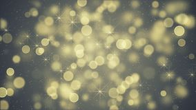 Yellow blurry lights and stars abstract festive background. Yellow blurry lights and stars. Soft festive background. Computer generated holiday graphic royalty free illustration