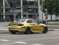 Yellow BMW car in Oslo royalty free stock image