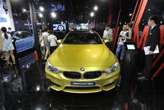 Yellow bmw m4 sport car Stock Images