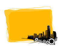 Yellow board with city. Royalty Free Stock Photography