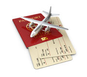 Yellow boarding pass with passport, 3d illustration isolated white Stock Image