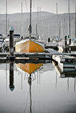An yellow boat 1. An yellow boat in the small country bay Stock Image