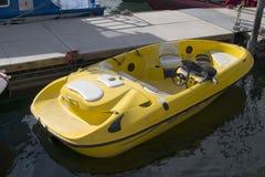 Yellow Boat. At dock Stock Photo