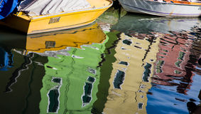 Yellow Boat in Burano Canal Royalty Free Stock Photo