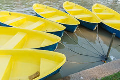 Yellow boat in the garden park. On summer Royalty Free Stock Images