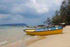 Yellow boat at Koh Rong Island, Cambodia royalty free stock image
