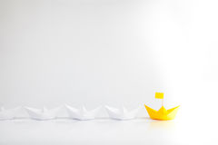 Yellow Boat Leadership Concept on White Background Royalty Free Stock Photo
