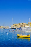 Yellow Boat at a Marina, Malta. Boats at the Kalkara Marina in Malta Stock Image