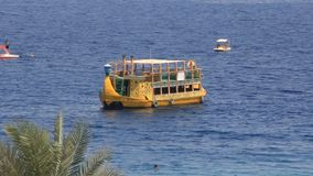 Yellow boat. Naama bay. Sharm El Sheikh. Egypt stock footage
