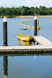 Yellow boat in the river Royalty Free Stock Image