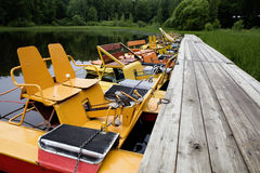 Yellow boat. Summer time Stock Images