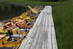 Yellow boat. Summer time Stock Image