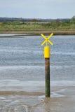 Yellow Boating Signal in creek Stock Photo