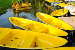 Yellow boats Stock Photography