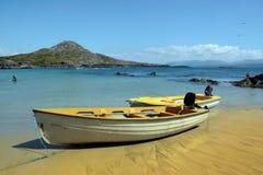 Yellow boats on golden irish beach Stock Photo