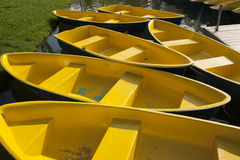 Yellow boats in the lagoon. Royalty Free Stock Images