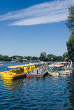 Yellow Boats on Qianhai lake in Shichahai lake of Beijing China Stock Image