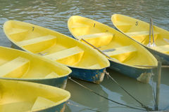 Yellow boats on river Royalty Free Stock Photo