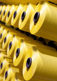 Yellow bobbins set Stock Photo