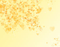 Yellow bokeh with hearts. And stars royalty free illustration