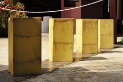 Yellow Bollards Stock Photography