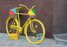Yellow book bicycle Royalty Free Stock Images