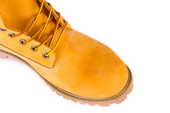 Yellow boots. Yellow men's boots isolated on white background Royalty Free Stock Photos