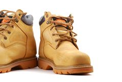 Yellow boots Stock Photography